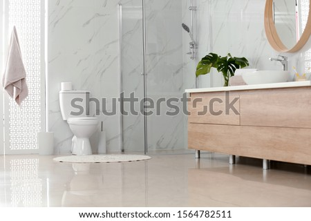Interior of modern bathroom with toilet bowl
