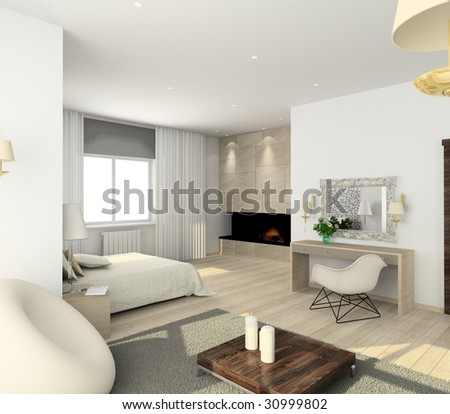 Interior Of Modern Bedroom. 3d Render Stock Photo 30999