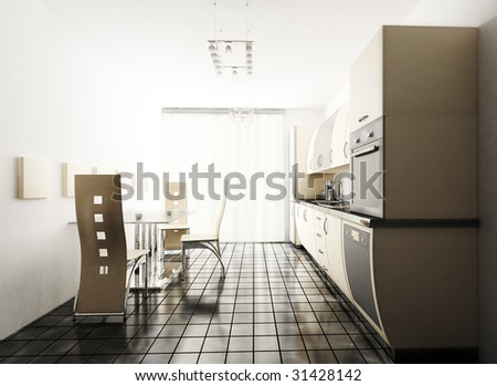 Interior of modern beige kitchen 3d render