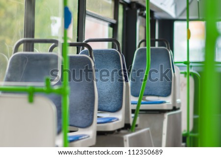 Interior of modern city bus