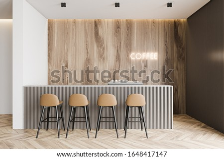 Interior of modern coffee shop with white and wooden walls, wooden floor, gray bar counter with stools and glowing neon sign. 3d rendering