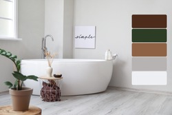 Interior of modern comfortable bathroom. Different color patterns