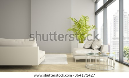 Interior of modern design loft with palm 3D rendering