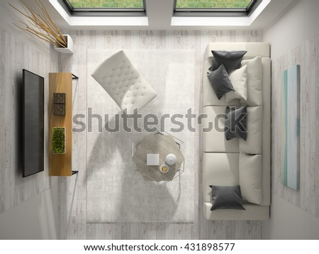Interior of modern design room top view 3D rendering