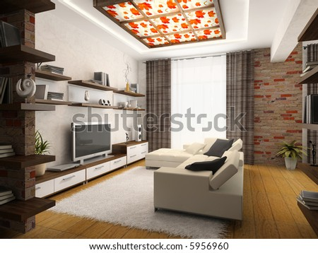 Interior Of Modern Drawing-Room 3d Rendering Stock Phot