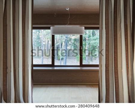 Interior of modern empty room with big windows   #280409648