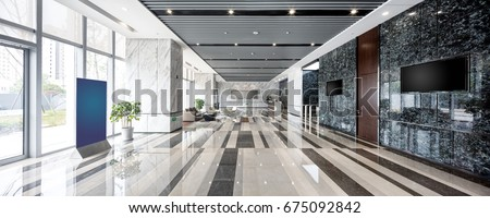 interior of modern entrance hall in modern office building #675092842