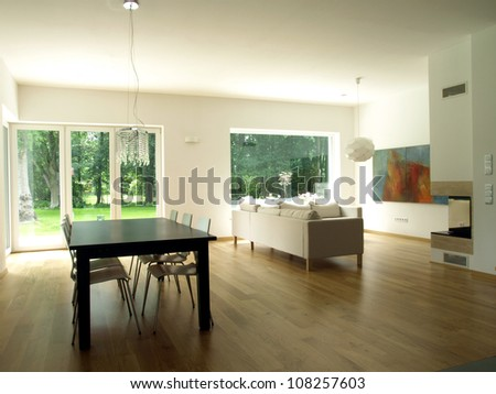 Interior of modern house, dining room, living room