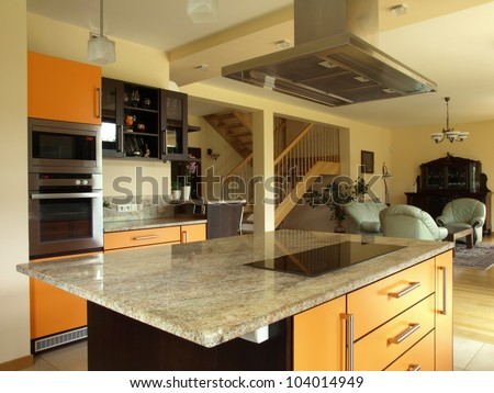 Interior of modern house: kitchen and dining room