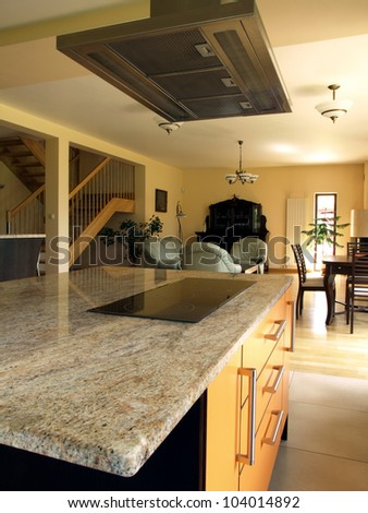 Interior of modern house: kitchen, living and dining room