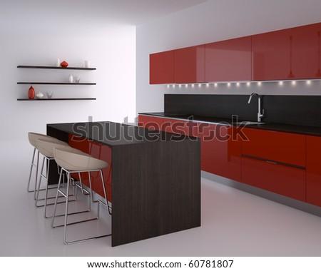 Interior of modern kitchen. 3d render.
