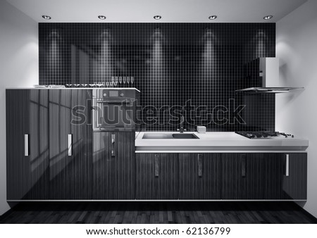 Interior of modern kitchen made with wood over mosaic wall 3d render