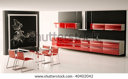 Interior of modern kitchen with big picture on the wall 3d render - stock photo