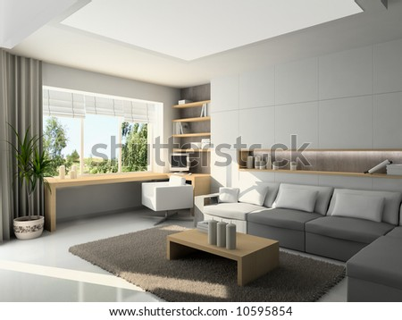 Interior of modern living-room. 3D render - stock photo