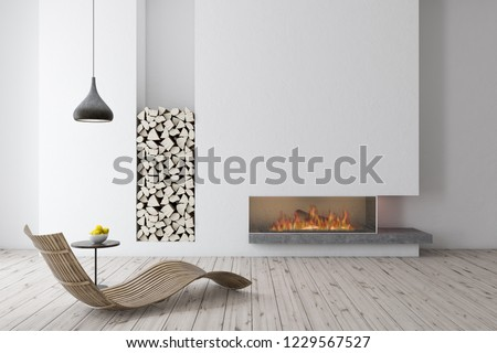 Interior of modern living room with white walls, wooden floor, a fireplace and wooden armchair standing near small coffee table. 3d rendering