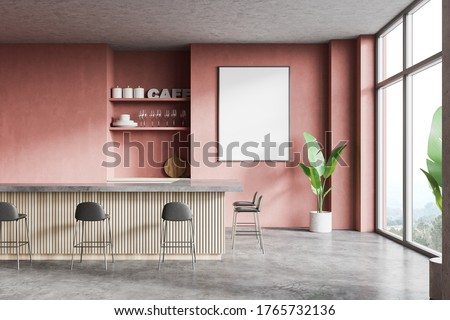 Interior of modern loft style pub with pink walls, concrete floor, wooden bar counter with stools, shelves with dishes and vertical mock up poster. Blurry mountain view. 3d rendering