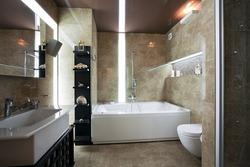 Interior of modern luxury bathroom with unusual lighting