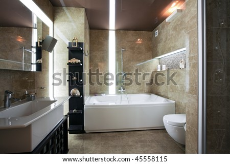 Modern Bathroom Lighting on Interior Of Modern Luxury Bathroom With Unusual Lighting Stock Photo