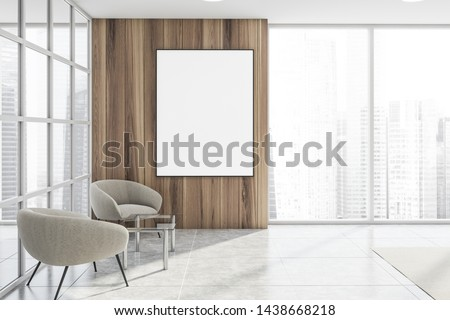 Interior of modern office waiting room with glass and wooden walls, panoramic window, white armchairs near coffee table and vertical mock up poster. 3d rendering