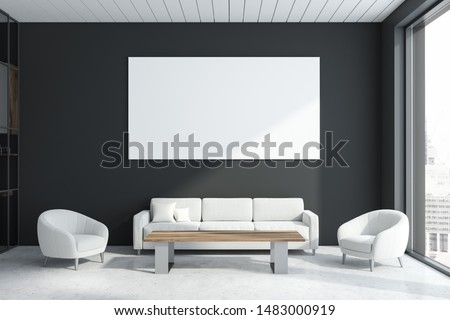 Interior of modern office waiting room with gray walls, concrete floor, comfortable white sofa and two armchairs near wooden coffee table and horizontal mock up poster. 3d rendering