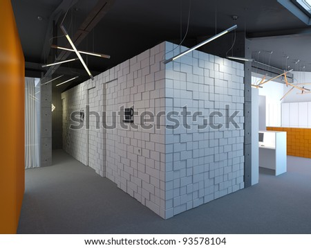 interior of modern office with concrete walls - stock photo