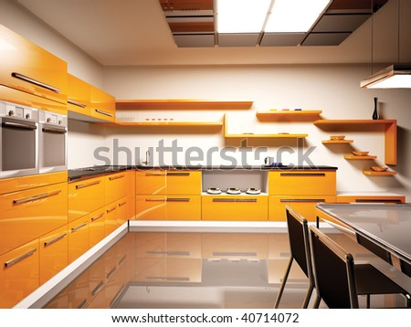 Interior of modern orange kitchen 3d render - stock photo