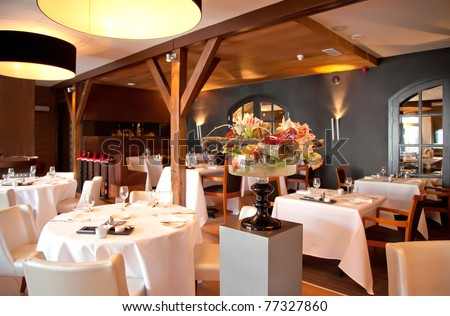 Interior Of Modern Restaurant In Classic Stock Photo 77327860 ...