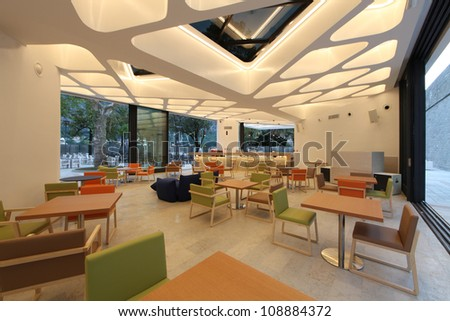 interior of modern restaurant / lounge bar - stock photo