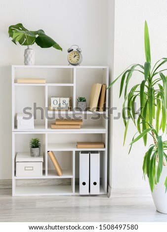 Interior of modern room with shelf unit and floral decor Foto stock ©
