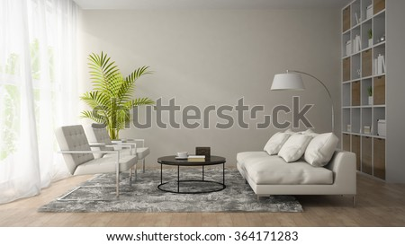 Interior of modern room  with white armchair and sofa 3D rendering