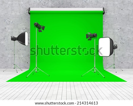 Interior of Modern Studio with Green Screen and Equipment
