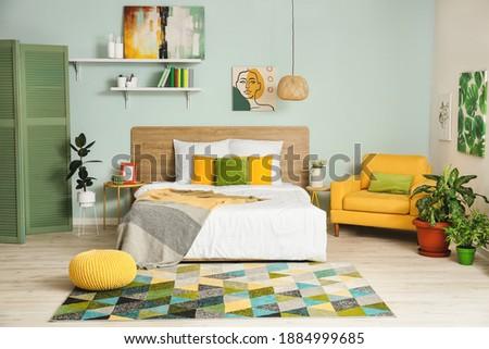 Interior of modern stylish bedroom Foto stock ©