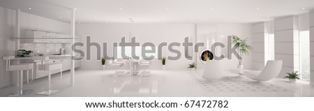 Interior of modern white apartment living room kitchen panorama 3d render