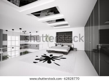 Interior of modern white black bedroom 3d render