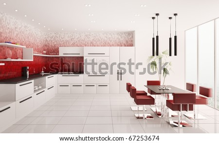 Interior of modern white kitchen with red gradient mosaic walls 3d render