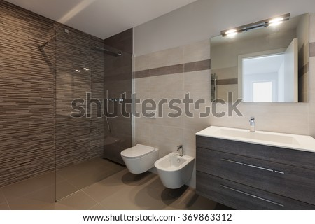 interior of new apartment, modern bathroom with shower #369863312