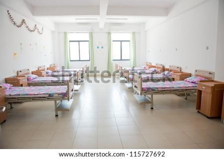 interior of new empty hospital room.