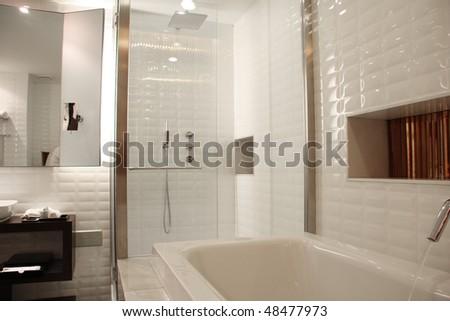 Interior of new modern bathroom