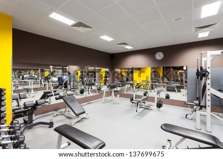 Interior Of New Modern Gym With Equipment Stock Photo