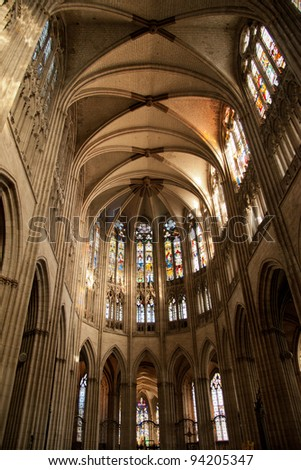 Interior of Notre Dame cathedral in Evreux, Normandy