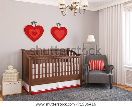 Interior of nursery 3D render