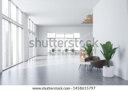 Interior of office hall with white and wooden walls, concrete floor, waiting area with gray armchairs and reception desk and meeting room in background. 3d rendering