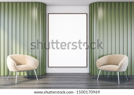 Interior of office lounge with white and green walls, dark wooden floor, beige armchairs and vertical mock up poster frame. 3d rendering