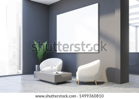 Interior of office waiting room with gray walls, tiled floor, white armchairs standing near gray coffee table and horizontal mock up poster. 3d rendering