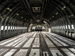 Interior of old airplane.