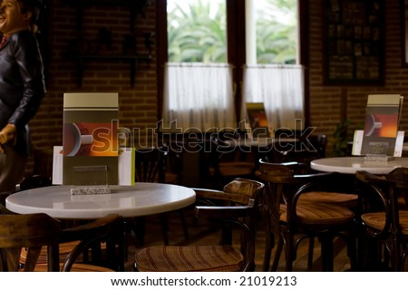 interior of old coffee shop with brown decoration