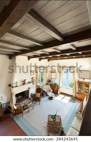interior of old house, classic furniture, living room with fireplace , top view
