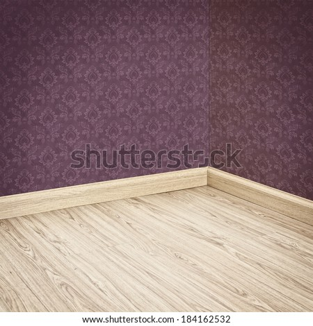 Interior of Old Room with a Wooden Floor and Purple Wallpaper