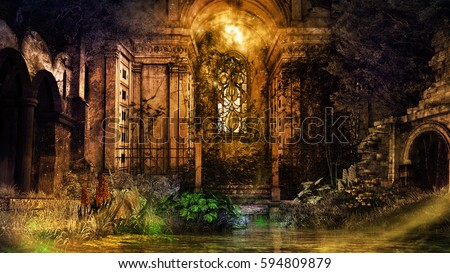 Interior of old ruined chapel. 3D illustration