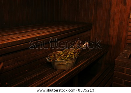 Interior of old russian wooden sauna